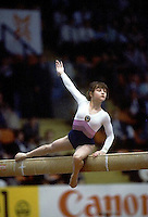 Elena Shushunova of Soviet Union performs on balance beam at 1985 European Championships in women's artistic gymnastics at Helsinki, Finland in late April, 1985.  Photo by Tom Theobald.