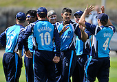 Cricket - 2nd One Day International - Scotland V The Netherlands at Mannofield - Aberdeen - a dream debut for Scotland opening bowler Safyaan Sharif (centre right - Dunfermline CC) here celebrating one of his four wicket haul and a run-out in the game - Picture by Donald MacLeod - 29.6.11 - 07702 319 738 - www.donald-macleod.com