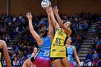 Pulse&rsquo; Aliyah Dunn and Steel's Abby Enwood  in action during the ANZ Premiership - Pulse v Steel at Te Rauparaha Arena, Porirua, New Zealand on Wednesday 30 May 2018.<br /> Photo by Masanori Udagawa. <br /> www.photowellington.photoshelter.com