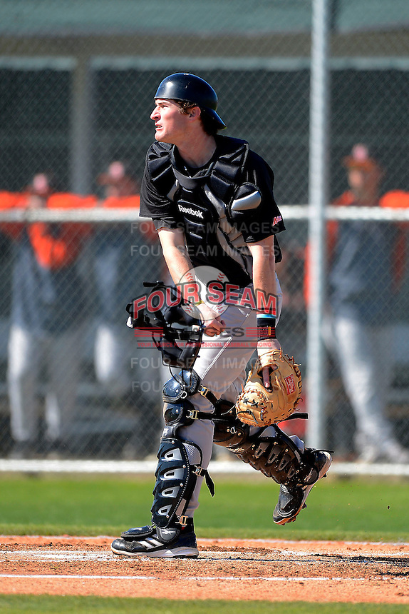 Mercer Bears catcher David Reid-Foley #18 during a game against the Notre Dame Fighting Irish at the Buck O'Neil Complex on February 17, 2013 in Sarasota, Florida.  Mercer defeated Notre Dame 5-4.  (Mike Janes/Four Seam Images)