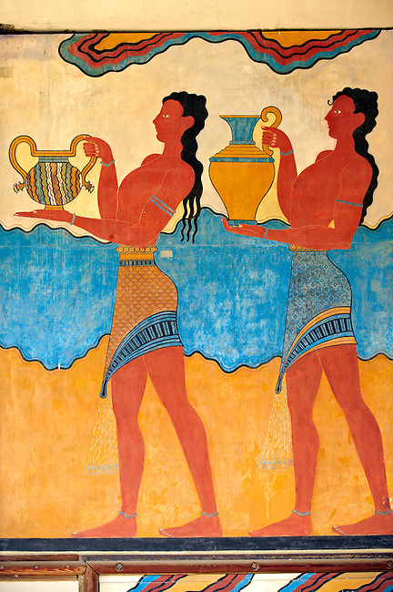 Arthur Evans reconstruction of Procession  Frescos at Knossos Minoan archaeological site, Crete