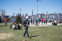Foodies from around the city flock to opening day at the Smorgasburg in East River State Park in the Williamsburg neighborhood of Brooklyn in New York on Saturday, April 6, 2013. The marketplace features prepared and artisanal foods made in Brooklyn by small entrepreneurs. In the two years the market has been in operation it has provided a venue for numerous chefs and cooks to sell their wares, some of whom have grown into large successful businesses. (© Frances M. Roberts)