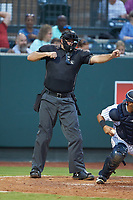 Home plate umpire Thomas O'Neil calls a batter out on strikes during the Appalachian League game between the Greeneville Reds and the Pulaski Yankees at Calfee Park on June 23, 2018 in Pulaski, Virginia. The Reds defeated the Yankees 6-5.  (Brian Westerholt/Four Seam Images)