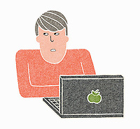Man thinking while using laptop ExclusiveImage