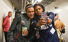 Apr. 5, 2014; Kayla McBride and Ariel Braker take a photo together in a hallway at the Bridgestone Arena in Nashville, Tenn. Notre Dame Fighting Irish square off against Maryland Terrapins Sunday night in the national semifinal of the NCAA Final Four tournament.  Photo by Barbara Johnston/University of Notre Dame
