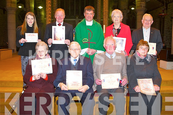 PIONEERS: Pioneers who received their long service pins and the Fr James Cullen medal at a ceremony at St John's Church, Tralee on Saturday seated l-r: Helen McSwiney (60 years and the Fr James Cullen medal), Mark Codd (70 years), Brendan Murphy (60 years and the Fr James Cullen medal) and Teresa O'Hara (60 years). Back l-r: Lynda Norgrove (became a pioneer), Micheal Fox O'Connor (50 years), Fr Kieran O'Brien (spiritual director), Patsy Quirke (60 years) and James Miller (60 years and the Fr James Cullen medal)..