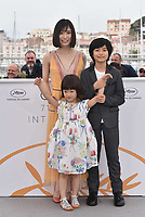 (L-R) Mayu Matsuoka, Miyu Sasaki and Jyo Kairi at the photocall for Japanese film 'Shoplifters (Manbiki Kazoku)' during the 71st annual Cannes Film Festival at Palais des Festivals on May 14, 2018 in Cannes, France.<br /> CAP/PL<br /> &copy;Phil Loftus/Capital Pictures