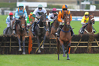 At first Glance ridden by Richie McLernon leads the field over the last first time around in The Heart Turn Up The Feel Good Mares' Novices' Hurdle during Horse Racing at Plumpton Racecourse on 4th November 2019