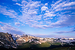 Morning sky above Mount Ida, summer landscape, Rocky Mountain National Park, Colorado, USA