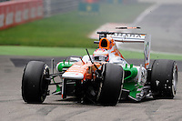 Acidente envolvendo o piloto Paul Di Rasta da equipe Sahara Force India no GP de Fórmula 1 da Itália, disputado no circuito de Monza, neste domingo (08). (Foto: Pixathlon / Brazil Photo Press).