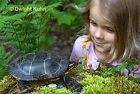 1R14-501z  Child looking at Painted Turtle - Chrysemys picta,  PRA.