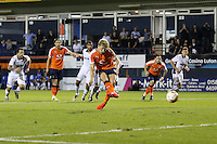 Cameron McGeehan of Luton Town scores the opening goal of the game, from the penalty spot, during the Sky Bet League 2 match between Luton Town and Newport County at Kenilworth Road, Luton, England on 16 August 2016. Photo by David Horn.