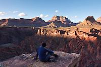 Waiting for sunset on the Tonto Plateau.  Angels Gate (left), Wotens Throne (center), and Newberry Butte (right) are the features across the inner gorge.