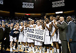 March 1, 2012:   Nevada Wolf Pack team celebrates after the game against the New Mexico State Aggies played at Lawlor Events Center on Thursday night in Reno, Nevada. Nevada (24-5, 12-1 WAC) won its fourth outright Western Athletic Conference title after defeating New Mexico State (22-9, 9-4 WAC) 65-61.