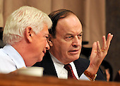 """Washington, D.C. - September 23, 2008 -- United States Senator Christopher Dodd (Democrat of Connecticut), Chairman, United States Senate Committee on Banking, Housing and Urban Affairs, left, and United States Senator Richard Shelby (Republican of Alabama), Ranking Member, right, discuss the testimony of the witnesses during the hearing on """"Turmoil in US Credit Markets: Recent Actions Regarding Government Sponsored Entities, Investment Banks and Other Financial Institutions"""" in Washington, D.C. on Tuesday, September 23, 2008.  The hearing focused on the United States Government's proposed 700 billion U.S. dollar bail-out of the banking system caused by poor lending practices of U.S. banks.<br /> Credit: Ron Sachs / CNP"""
