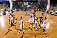 11 November 2011:  FIU's Finda Mansare (23) pulls in a rebound in the first half as the FIU Golden Panthers defeated the Jacksonville University Dolphins, 63-37, at the U.S. Century Bank Arena in Miami, Florida.