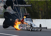 Mar 19, 2016; Gainesville, FL, USA; NHRA top fuel driver Dave Connolly has an engine fire during qualifying for the Gatornationals at Auto Plus Raceway at Gainesville. Mandatory Credit: Mark J. Rebilas-USA TODAY Sports