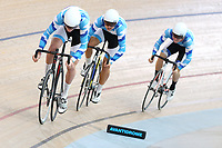 Cameron Manley, Sam Upton and Callum Walsh of Auckland compete in the U17 Boys 750m Team Sprint final at the Age Group Track National Championships, Avantidrome, Home of Cycling, Cambridge, New Zealand, Sunday, March 19, 2017. Mandatory Credit: © Dianne Manson/CyclingNZ  **NO ARCHIVING**