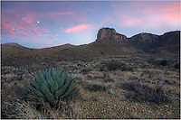 From along the El Capitan Trail in Guadalupe Mountains National Park, El Capitan rises out the desert. In the foreground, yucca and cacti inhabit the barren land that once was a thriving shallow sea. The sunrises and sunsets in the Guadalupe Mountains can be pretty spectaculr when the conditions are right.