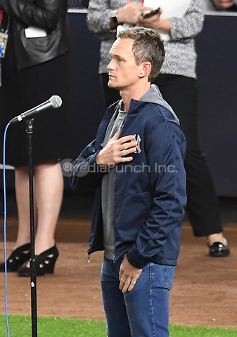 NEW YORK, NY - October 8 : Neil Patrick Harris performs the national anthem at Yankee Stadium during game 3 of the ALDS on October 8,2017 Bronx New York . @John Palmer / Media Punch