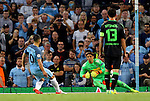 Sergio Aguero of Manchester City scores his second goal of the night from the penalty spot during the UEFA Champions League Group C match at The Etihad Stadium, Manchester. Picture date: September 14th, 2016. Pic Simon Bellis/Sportimage