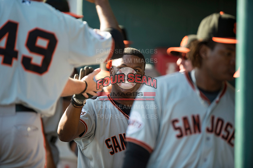 San Jose Giants second baseman Jalen Miller (2) receives high fives from teammates after hitting a home run during a California League game against the Modesto Nuts at John Thurman Field on May 9, 2018 in Modesto, California. San Jose defeated Modesto 9-5. (Zachary Lucy/Four Seam Images)