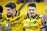 Jordie and Beauden Barrett after the Super Rugby match between the Hurricanes and Crusaders at Westpac Stadium in Wellington, New Zealand on Saturday, 10 March 2018. Photo: Dave Lintott / lintottphoto.co.nz