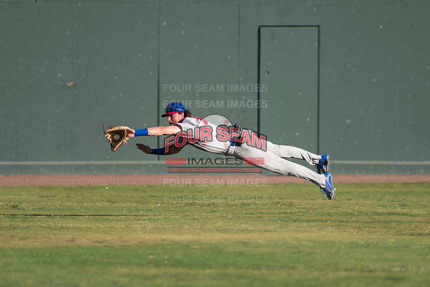 Stockton Ports center fielder Skye Bolt (9) dives to make a catch during a California League game against the Visalia Rawhide at Visalia Recreation Ballpark on May 8, 2018 in Visalia, California. Stockton defeated Visalia 6-2. (Zachary Lucy/Four Seam Images)