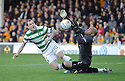 MOTHERWELL'S DARREN RANDOLPH SAVES AT CLOSE RANGE FROM CELTIC'S ANTHONY STOKES.