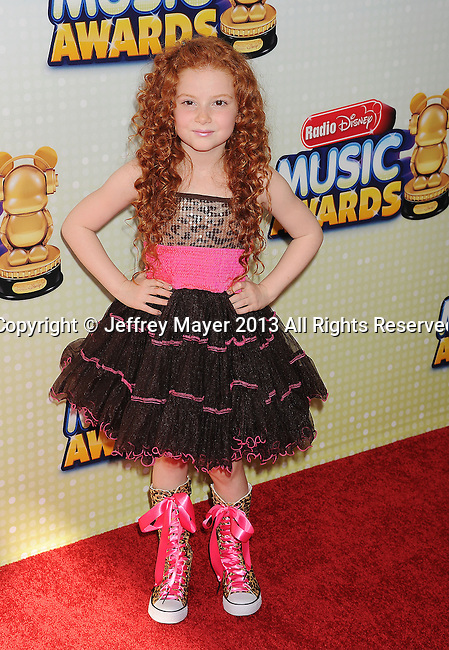 LOS ANGELES, CA- APRIL 27: Actress Francesca Capaldi arrives at the 2013 Radio Disney Music Awards at Nokia Theatre L.A. Live on April 27, 2013 in Los Angeles, California.