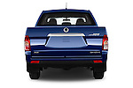 Straight rear view of2014 Ssangyong Actyon Sports Quartz 4 Door Pick Up Rear View  stock images