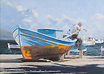 "Beached fishing boat on a sunny Mediterranean beach in Greek Messinia. Oil on canvas, 18' x 25""."