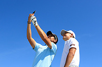 Matteo Manassero (ITA) and Jason Scrivener (AUS) take a selfie from the top of the clubhouse ahead of the Rocco Forte Sicilian Open played at Verdura Resort, Agrigento, Sicily, Italy 08/05/2018.<br /> Picture: Golffile | Phil Inglis<br /> <br /> <br /> All photo usage must carry mandatory copyright credit (&copy; Golffile | Phil Inglis)