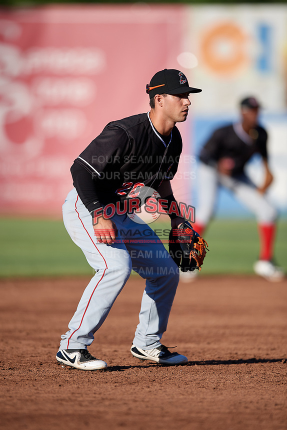 Batavia Muckdogs third baseman Denis Karas (20) during a game against the Auburn Doubledays on June 15, 2018 at Falcon Park in Auburn, New York.  Auburn defeated Batavia 5-1.  (Mike Janes/Four Seam Images)