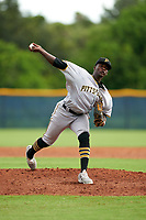 GCL Pirates pitcher Willy Basil (55) during a Gulf Coast League game against the GCL Rays on August 7, 2019 at Charlotte Sports Park in Port Charlotte, Florida.  GCL Rays defeated the GCL Pirates 4-1 in the first game of a doubleheader.  (Mike Janes/Four Seam Images)