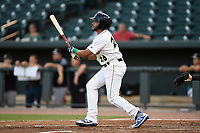 Third baseman Jose Brizuela (20) of the Columbia Fireflies bats during a game against the Charleston RiverDogs on Tuesday, August 28, 2018, at Spirit Communications Park in Columbia, South Carolina. Columbia won, 11-2. (Tom Priddy/Four Seam Images)