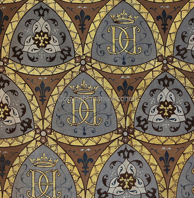 Hand-painted wallpaper with the monogram of Catherine de Medici, 2 Cs with an H for Henri II, in the Chambre de la Reine or Queen's Bedroom, decorated in 16th century Renaissance style and restored by Felix Duban in 1861-66, on the first floor of the Francois I wing, built early 16th century in Italian Renaissance style, at the Chateau Royal de Blois, built 13th - 17th century in Blois in the Loire Valley, Loir-et-Cher, Centre, France. This is thought to be the room in which Catherine de Medici died in 1589. The chateau has 564 rooms and 75 staircases and is listed as a historic monument and UNESCO World Heritage Site. Picture by Manuel Cohen