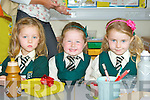 Jenny Lucey, Molly Ellen Reidy and Rachel Fuller enjoying their lunch on their first day of school at Loreto NS, Killarney on Monday..