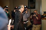 Toshiba Corp. President Satoshi Tsunakawa leaves a news conference at the company's headquarters on March 14, 2017, Tokyo, Japan. Tsunakawa said that Toshiba could sell its majority stake in Westinghouse in the U.S. as part of a plan to return the business to growth, and he also said that Toshiba would delay for a second time the announcement of its earnings for the October-December period due to auditing problems. (Photo by Rodrigo Reyes Marin/AFLO)