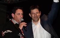 SAO PAULO, 09 DE JULHO DE 2012 -  HADDAD CONCUT - O candidato Fernando Haddad e o presidente da CUT Artur Henrique em cerimonia de abertura do 11º Congresso Nacional da Central Única dos Trabalhadores (CONCUT), no expo transamerica, regiao sul da capital na noite desta segunda feira. FOTO: ALEXANDRE MOREIRA - BRZIL PHOTO PRESS