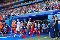 LYON, FRANCE - JULY 07: USWNT walkout during a game between Netherlands and USWNT at Stade de Lyon on July 07, 2019 in Lyon, France.