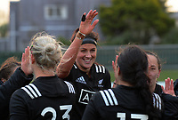 Charmaine Smith celebrates with Black Ferns teammates after the 2017 International Women's Rugby Series rugby match between the NZ Black Ferns and Australia Wallaroos at Rugby Park in Christchurch, New Zealand on Tuesday, 13 June 2017. Photo: Dave Lintott / lintottphoto.co.nz