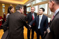 L-R: Paris Europlace Communications Director Carole d'Armaille, French Financial Markets Authority Chairman Jean-Pierre Jouyet, Paris Europlace Chief Executive Arnaud de Bresson, Shanghai Municipal Government Financial Services Director-General Fang Xinghai, meet before Shanghai / Paris Europlace Financial Forum, in Shanghai, China, on December 1, 2010. Photo by Lucas Schifres/Pictobank