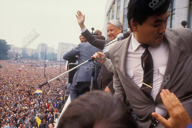 Boris Yeltsin, President of the Russian Federation, addresses a crowd during a coup attempt against his government. Moscow, Russia, August 1991