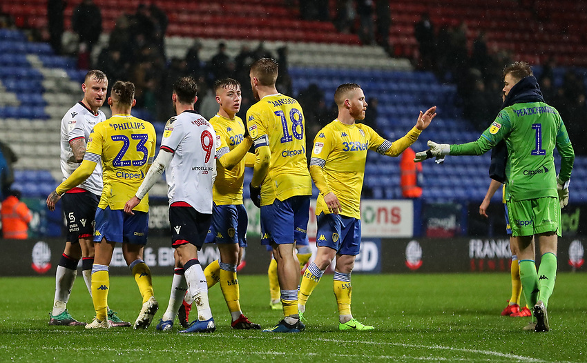 Players from both teams shake hands at the end of the match<br /> <br /> Photographer Andrew Kearns/CameraSport<br /> <br /> The EFL Sky Bet Championship - Bolton Wanderers v Leeds United - Saturday 15th December 2018 - University of Bolton Stadium - Bolton<br /> <br /> World Copyright © 2018 CameraSport. All rights reserved. 43 Linden Ave. Countesthorpe. Leicester. England. LE8 5PG - Tel: +44 (0) 116 277 4147 - admin@camerasport.com - www.camerasport.com