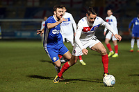 Daniel Sparkes of Dagenham  and Michael Duckworth of Halifax Town during FC Halifax Town vs Dagenham & Redbridge, Vanarama National League Football at The Shay on 13th March 2018