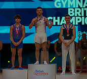 17th March 2019, M&S Arena, Liverpool, England; Gymnastics British Championships day 4;  Men's Artistic Masters Floor Final medallists L to R JARMAN Jake, Huntingdon Olympic Gymnastics Club, REGINI-MORAN Giarnni, Europa Gym Club, STEELE Adam, Pipers Vale Gymnastics Club