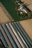 Europe/France/Pays de la Loire/49/Maine-et-Loire/Env de Saumur: Cultures sous serres et moulin à vent -  vue aérienne