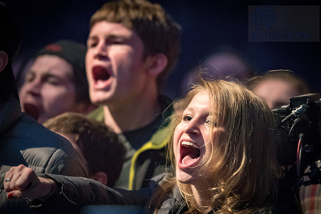 March 3, 2017; Fans cheer on the boxers during the 2017 Bengal Bout finals. (Photo by Matt Cashore/University of Notre Dame)