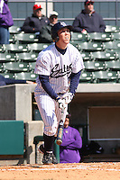 Ronnie Shaeffer of the University of California at Irvine at the plate in a game against James Madison University at the Baseball at the Beach Tournament held at BB&T Coastal Field in Myrtle Beach, SC on February 28, 2010.